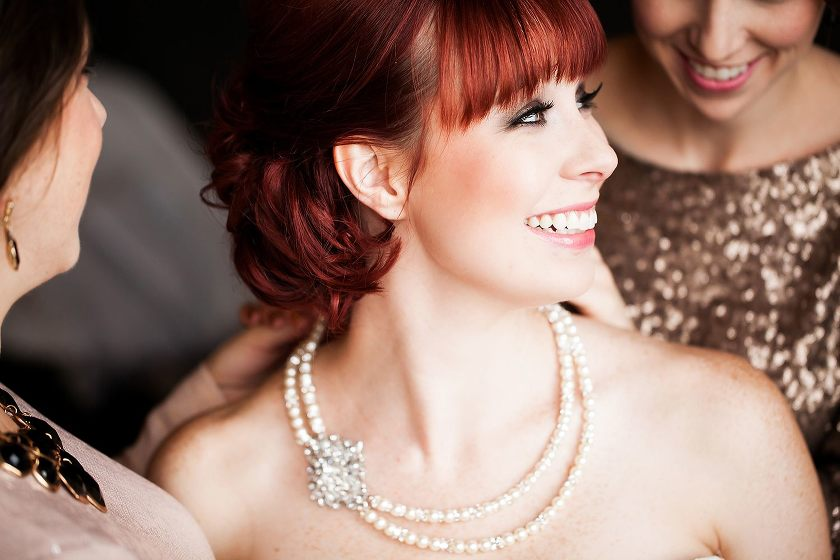 Bride with pearl necklace - Photo by Jenny Martell Photography