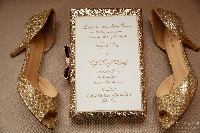 Gold invitation, gold clutch, gold shoes! Photo by Amy Karp Photography