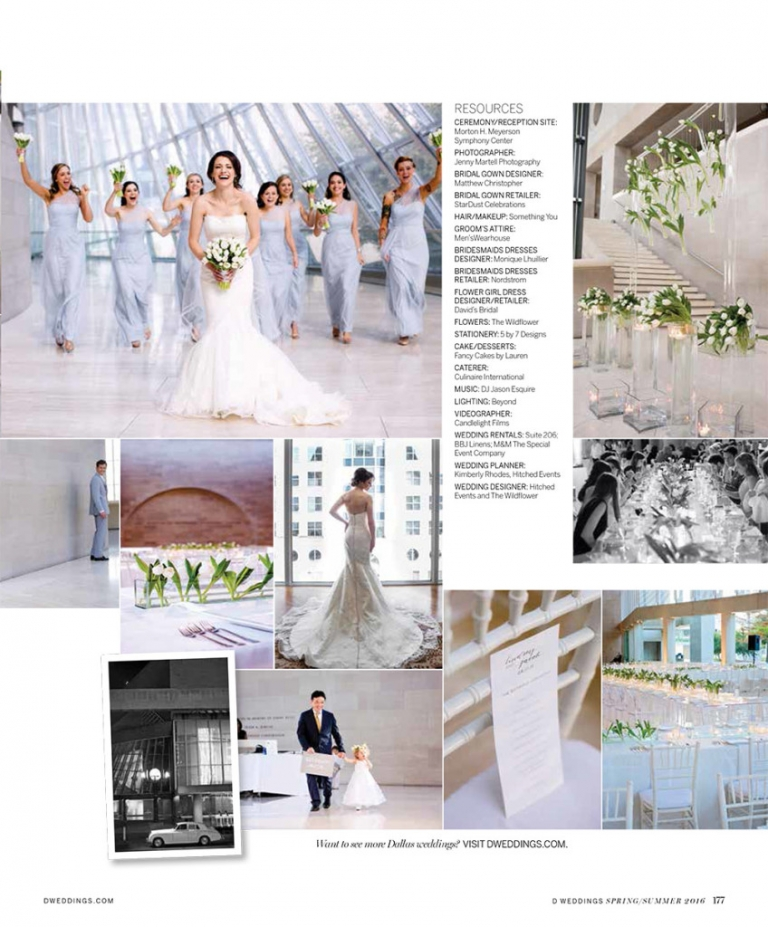 Seidel Fleming Wedding DWeddings Feature modern wedding at Meyerson Symphony Center light blue bridesmaid dresses white tulips lucite ghost chairs photos by Jenny Martell Photography