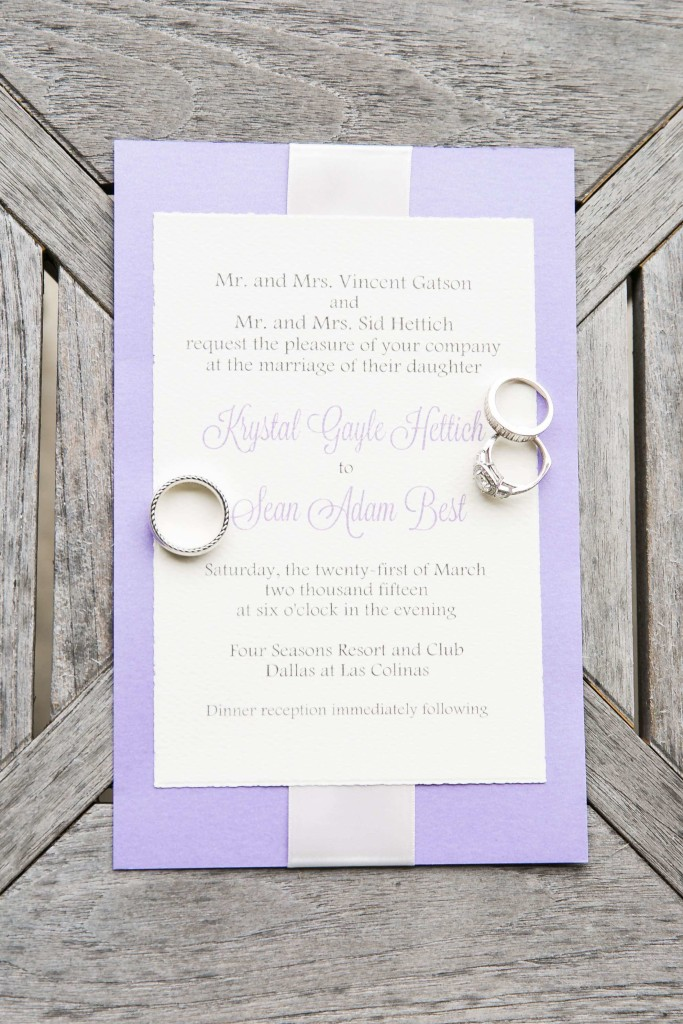 Purple and white spring wedding invitation with ribbon detail - Photo by TRU Identity Photography + Designs