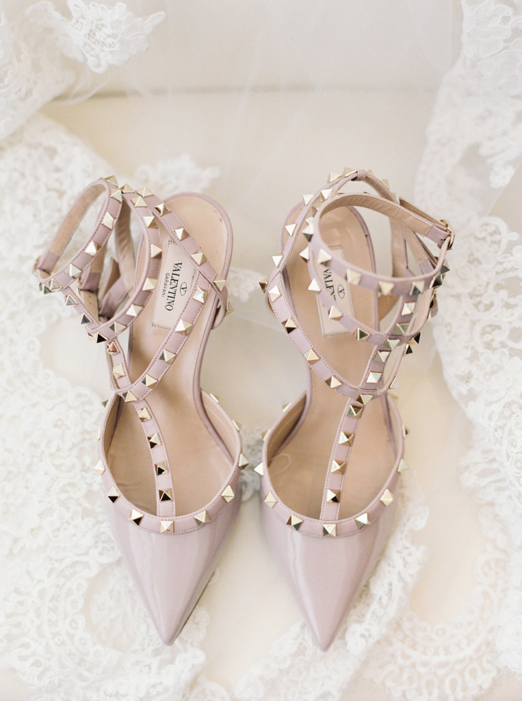 Nude Valentino Rockstud wedding shoes prewedding photos with lace veil - Photo by Joshua Aull Photography