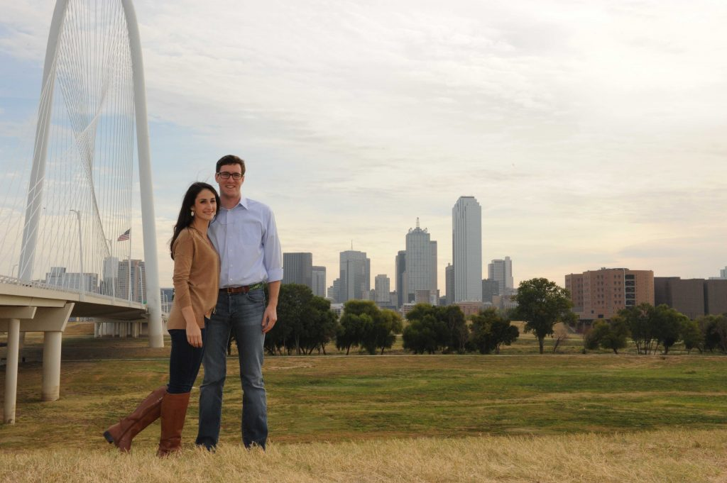 Dallas outdoor engagement photos with Margaret Hunt bride and Dallas skyline