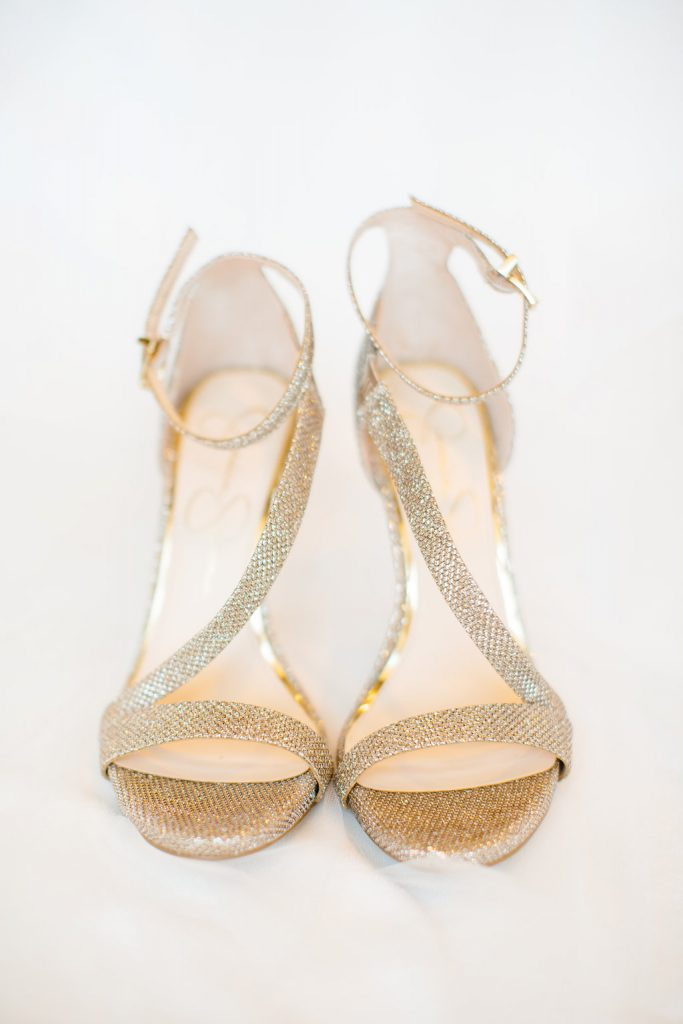 Gold strappy and sparkly wedding shoes for fall wedding in Dallas, TX - Photos by The Tarnos