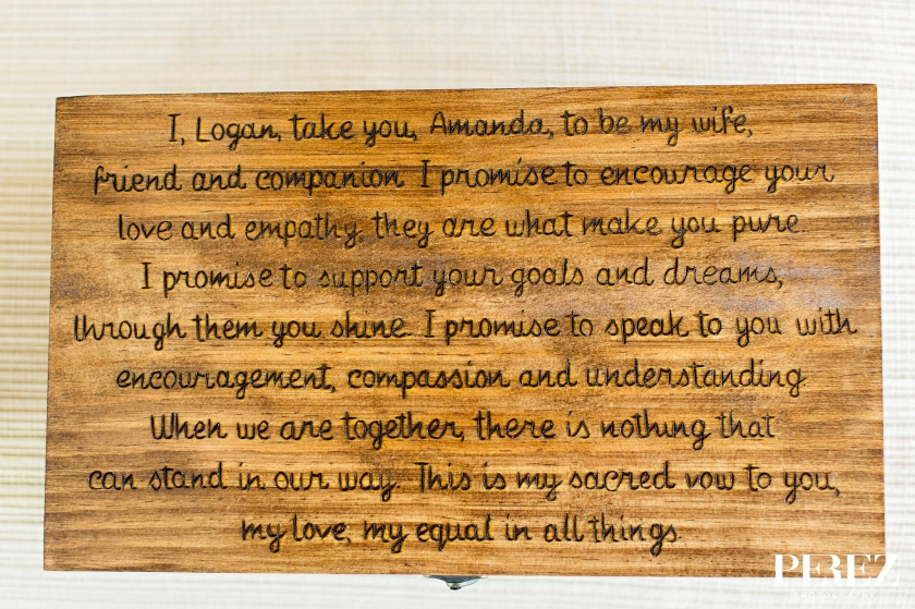 Grooms custom gift to bride his wedding vows etched on wooden box with bottles of wine inside and hand written note - Photos by Perez Photography