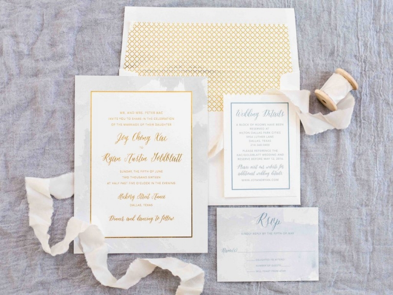 Gold and watercolor inspired wedding invitation suite for summer wedding at Hickory Street Annex in Dallas, TX - Photos by Elisabeth Carol Photography