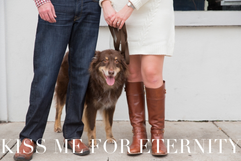 Bishop Cider Company engagement photo shoot with dog in Dallas, Texas - Photos by Kiss Me For Eternity