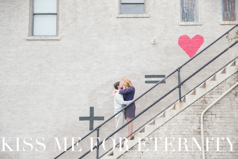 Bishop Arts engagement photos in Dallas, Texas + = heart wall and stairs - Bishop Cider Company engagement photo shoot in Dallas, Texas - Photos by Kiss Me For Eternity