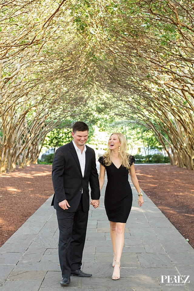 Formal outdoor engagement pictures at the Dallas Arboretum - Photos by Perez Photography