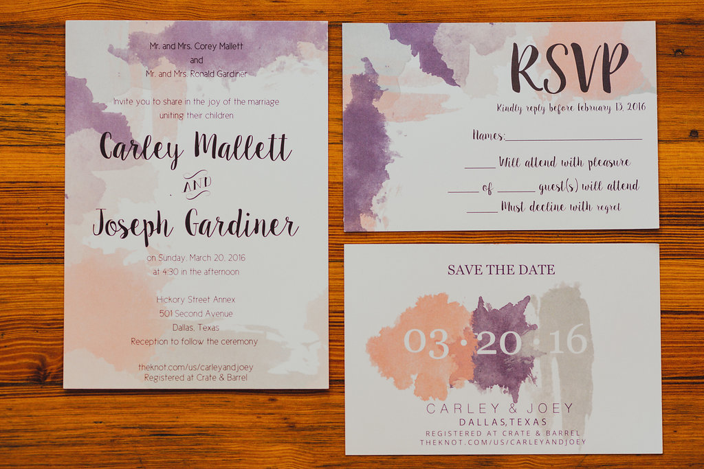 Pink and purple watercolor inspired wedding invitation suite for spring wedding in Dallas, Texas - Photos by Grant Daniels Photography