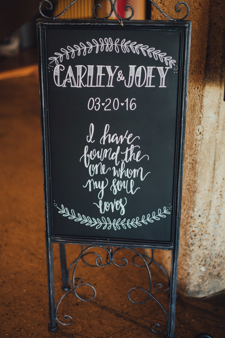 Custom chalkboard signage for earthy and elegant spring wedding at Hickory Street Annex in Dallas, Texas - Photos by Grant Daniels Photography