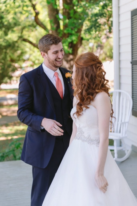 Bride and groom first look at Dallas Heritage Village before spring wedding - Photo by Evan Godwin Photography