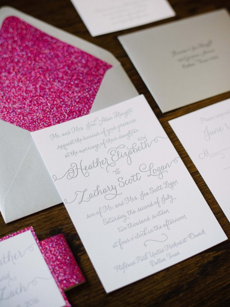 Custom pink sparkle and silver wedding invitation suite for summer wedding in Dallas, Texas - Photos by The Waldron Photography Company