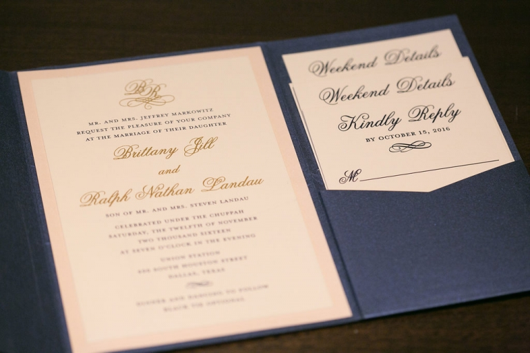 Navy pink and gold custom wedding invitation suite for fall Jewish wedding in Dallas, Texas - Photos by The Mamones