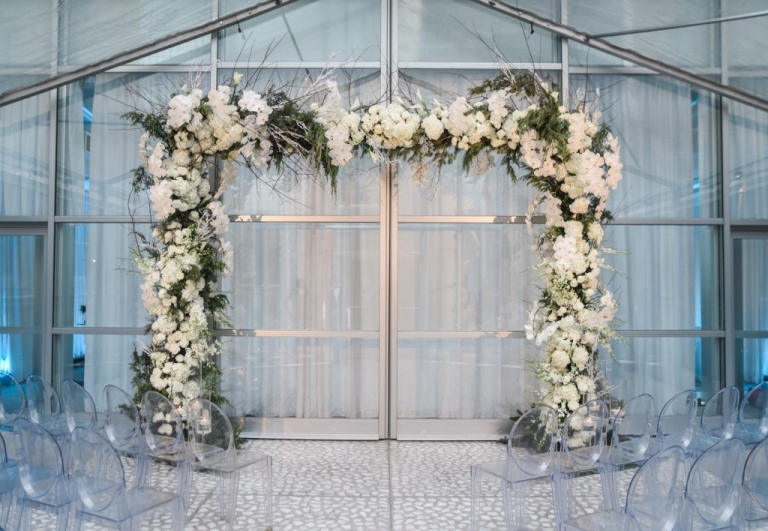 Winter wedding ceremony area at The Joule Hotel in Dallas, Texas - Photo by Shannon Skloss Photography