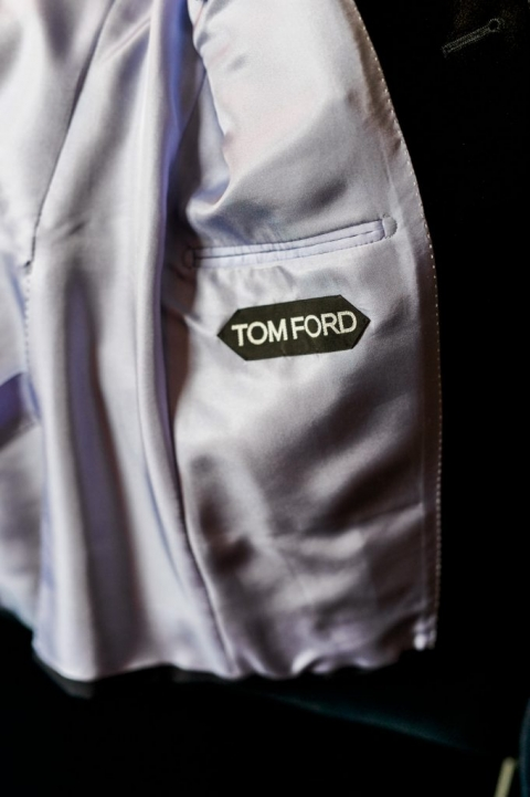 Custom made Tom Ford tuxedo for two grooms winter wedding at The Joule in Dallas, Texas - Photo by Shannon Skloss Photography