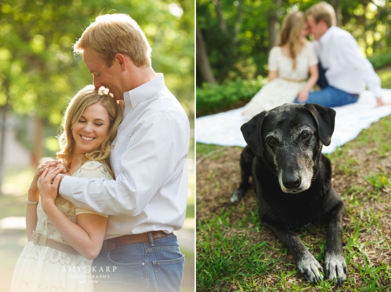 Outdoor engagement photos with dog - Photo by Amy Karp Photography