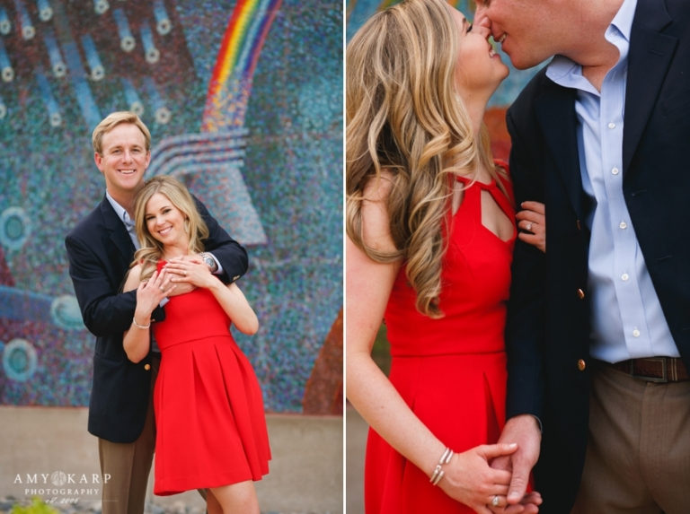 Outdoor engagement photos with bride in red dress couple posing in Dallas Arts District - Photo by Amy Karp Photography