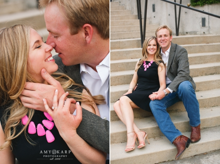 Outdoor engagement photos with bride in black dress and pink Kendra Scott necklace couple sitting on stairs - Photo by Amy Karp Photography
