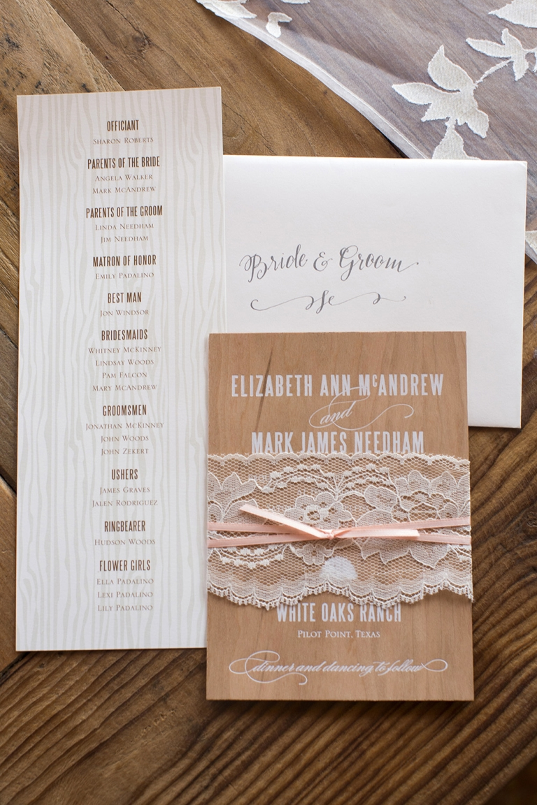 Custom rustic wedding invitation suite with wood accents, lace, and pink ribbon - Photo by helmutwalker photography