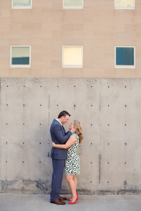 Outdoor engagement photos in Dallas, TX bride wearing red heels - Photos by Joshua Aull Photography