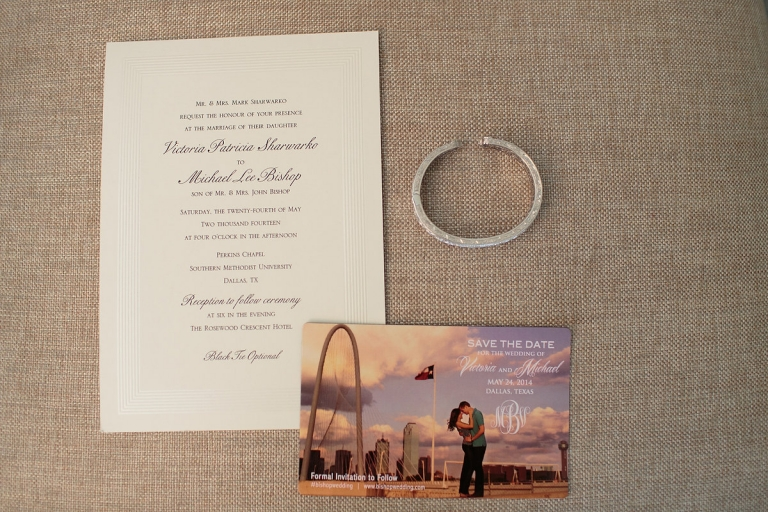 Traditional wedding invitation with Dallas skyline picture of couple on the Save The Date - Photo by Joseph Mark Photography