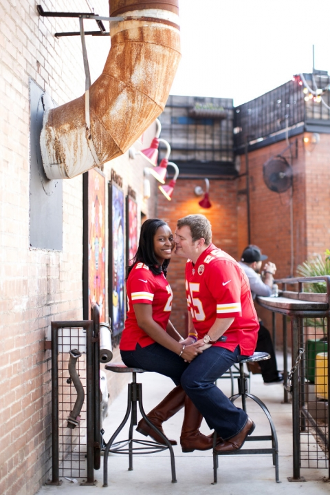 Kansas City Chiefs fans engagement photo - Photo by Jenny & Eddie