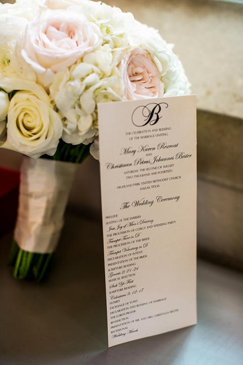Summer brides bouquet with ceremony program - Photo by Jenny Martell Photography
