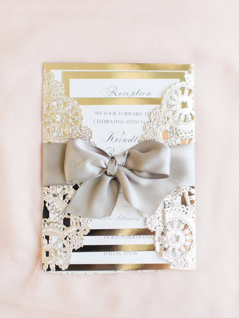 Gold and lace wedding invitation - Photo by Stephanie Brazzle Photography