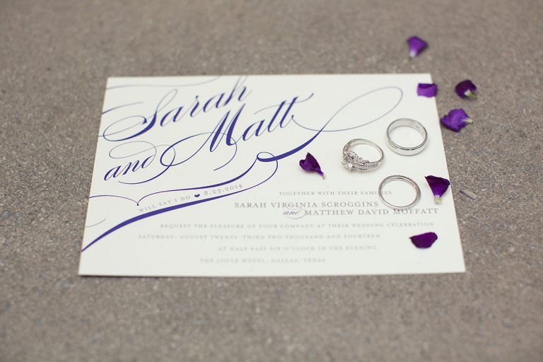 Purple wedding invitation - Photo by Sarah Kate Photography