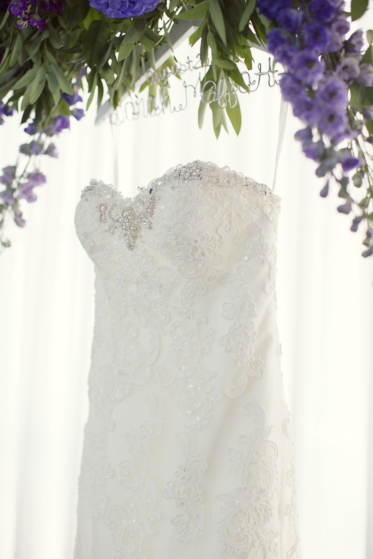 Lace wedding dress with crystals and pearls - Photo by Sarah Kate Photography