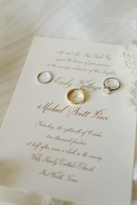 Wedding invitation with gold writing - Photo by Celina Gomez Photography