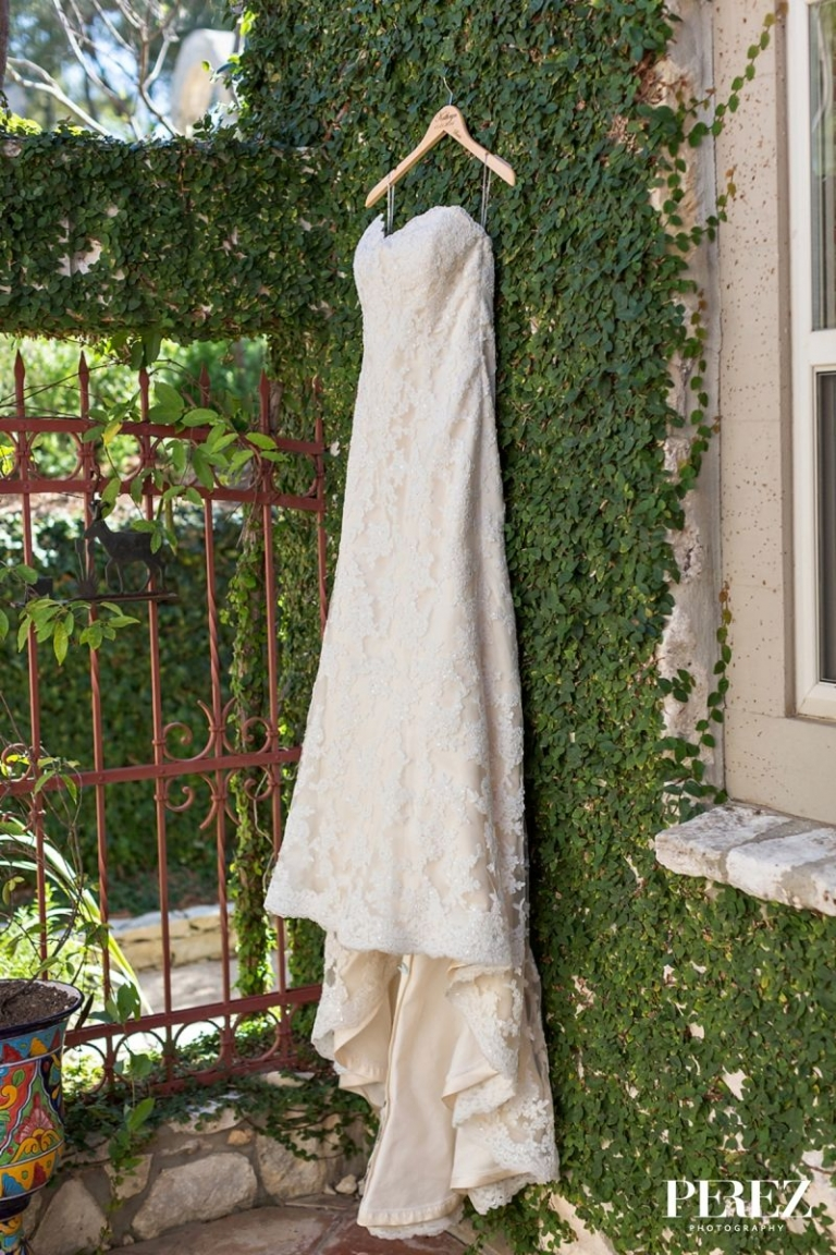 Dress hanging on lush green wall - Photo by Perez Photography
