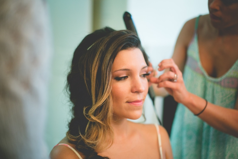 Bride hair and makeup prep - Photo by Vanessa Lain Photography