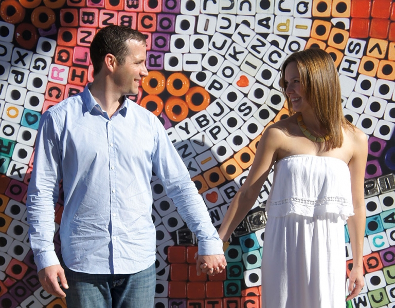 Letter wall background engagement photo - Photo by Annalyse Gierschick