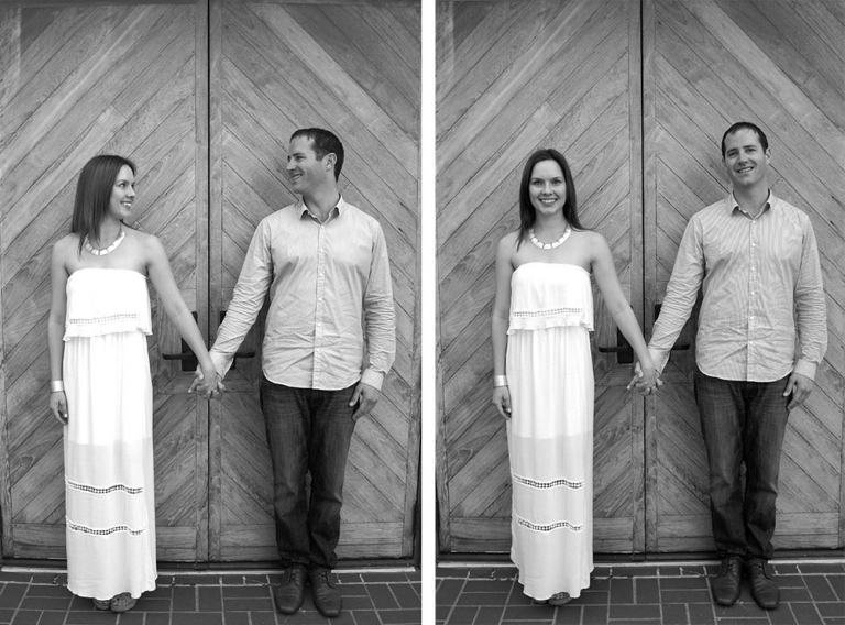 Engagement picture in front of doors - Photo by Annalyse Gierschick