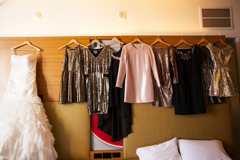 Mismatched sequin bridesmaid dresses - Photo by Jenny Martell Photography