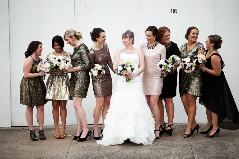 Bridesmaids in sparkly sequin dresses - Photo by Jenny Martell Photography