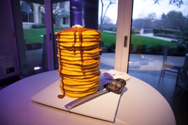 Pancake cake with Star Wars spatula - Photo by TRU Identity Photography + Designs