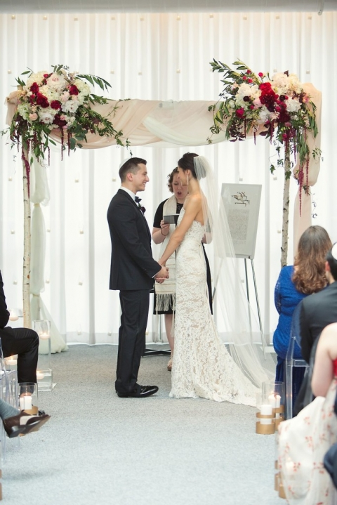 Old world vintage glam ceremony at The Joule with custom chuppah - Photo by Joshua Aull Photography