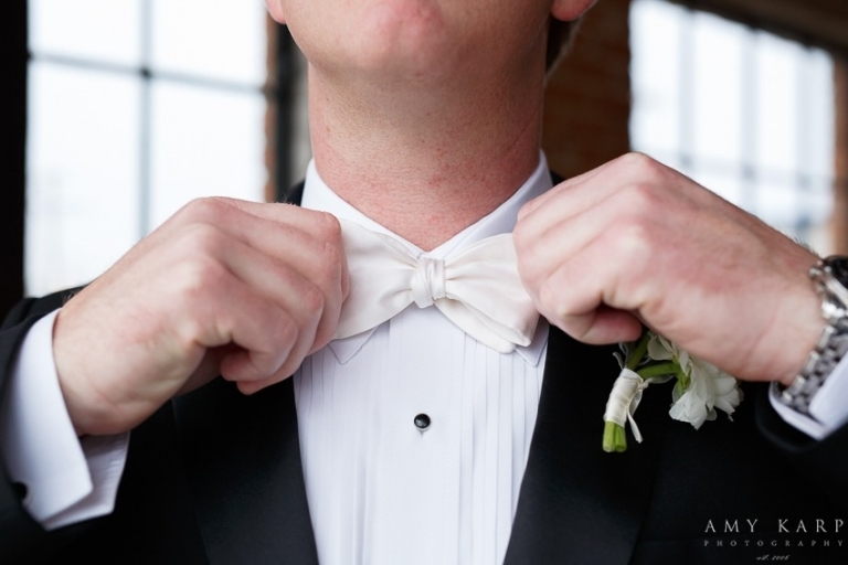 Groom with white bow tie - Photo by Amy Karp Photography