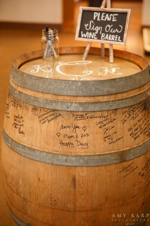 Wine barrel guestbook - Photo by Amy Karp Photography