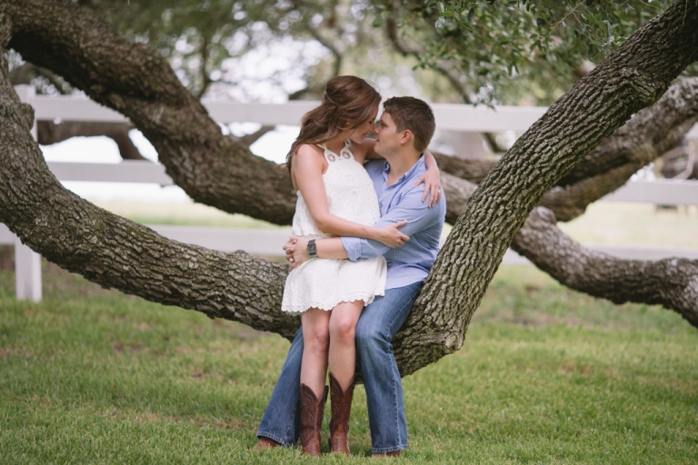 Outdoor engagement photo sitting on tree - Photo by Evan Godwin Photography