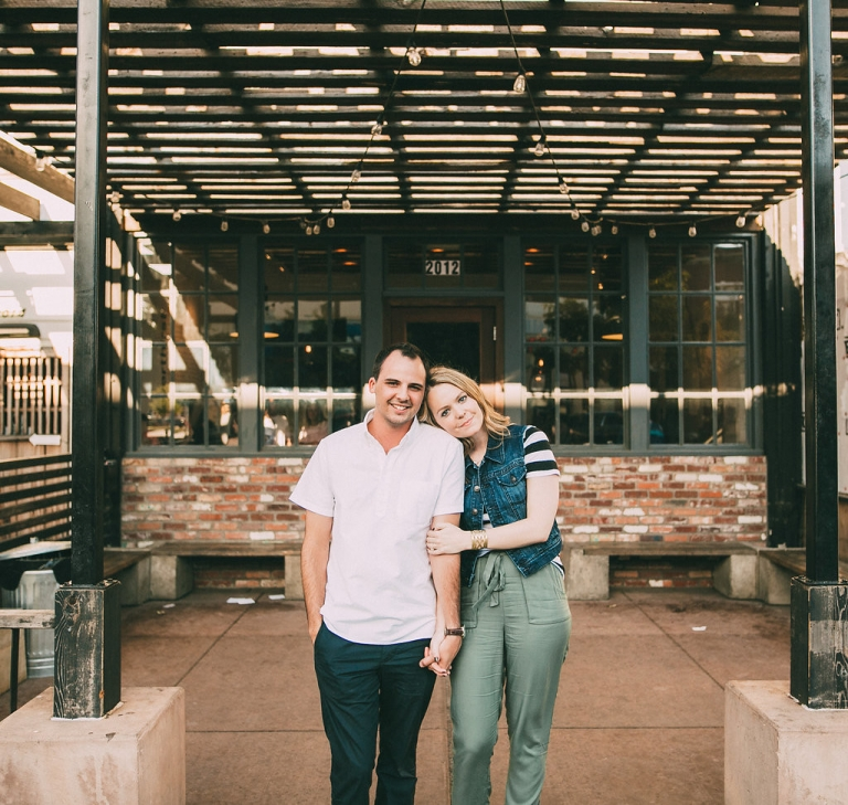 Outdoor engagement photo at Steel City Pops in Dallas, TX - Photo by Grant Daniels Photography