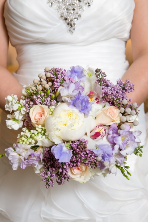 Purple and white spring brides bouquet - Photo by TRU Identity Photography + Designs