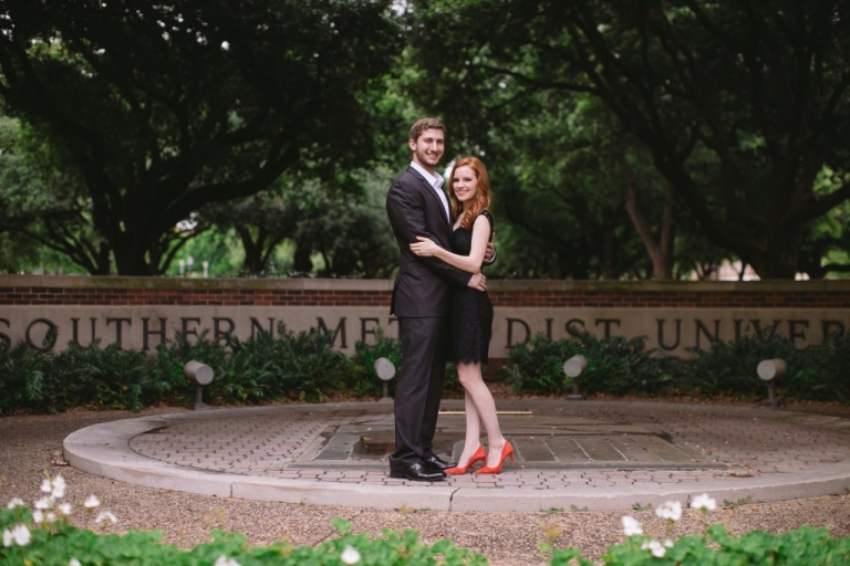 Outdoor formal engagment photos at Southern Methodist University in Dallas, Texas - Photo by Evan Godwin Photography