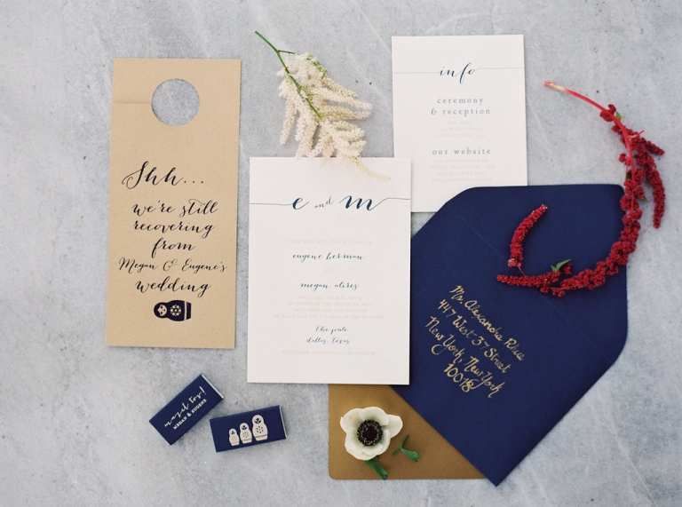 Custom navy and gold wedding invitation suite with Russian Matryoshka dolls - Photo by Joshua Aull Photography