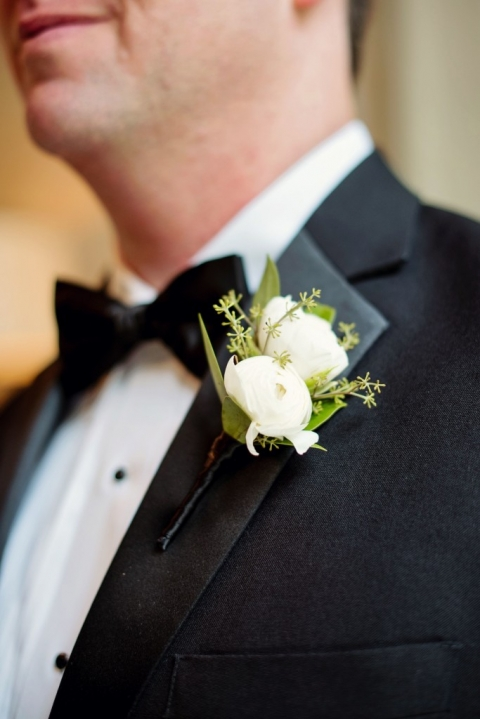 Grooms white boutonniere for formal summer wedding - Photos by Celina Gomez Photography