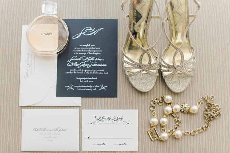 Dark grey and white wedding invitation suite photo with rhinestone bridal shoes and Chanel perfume - Photo by Arden Prucha Photography