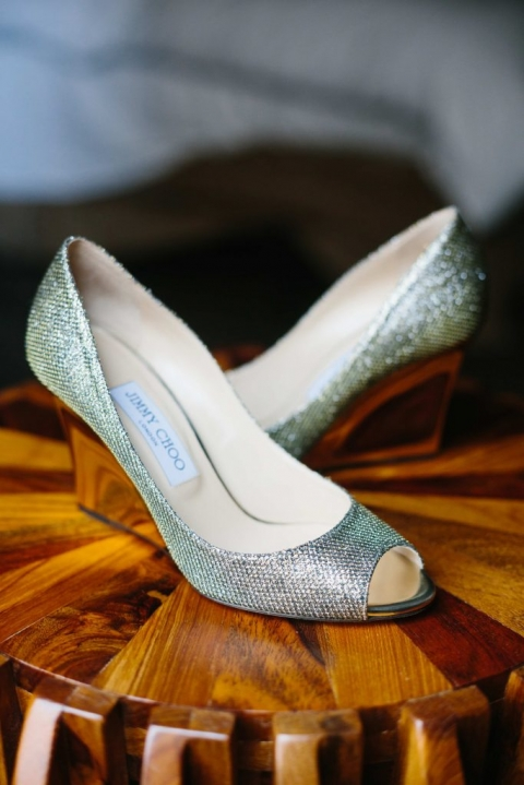 Silver sparkle Jimmy Choo wedding shoes wedges with open toe for fall wedding in Dallas, TX - Photos by Apryl Ann Photography
