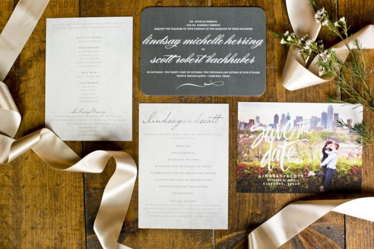 Custom wedding suite for fall wedding with chalkboard inspired wedding invitation for fall wedding at Thistle Springs Ranch in Cleburne, Texas - Photos by Mary Fields Photography